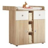 Komoda Wiki Baby - bílá/Sonoma dub, Konvenční, dřevěný materiál (89/101/78cm)