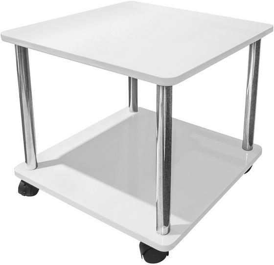 Kisasztal Paul - fehér, modern, műanyag/fém (40/41,5/40cm)