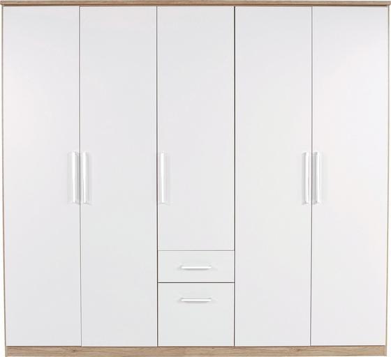 Ruhásszekrény Wien - Tölgyfa/Fehér, konvencionális, Faalapú anyag (226/212/54cm)