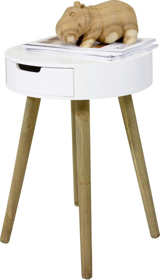 Beistelltisch Fjord inkl. Schublade - Naturfarben/Weiß, MODERN, Holz/Holzwerkstoff (40/52cm)