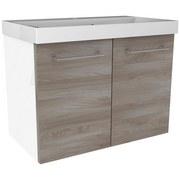 Waschtischunterschrank mit Türdämpfer Lima B: 80cm - Eschefarben/Weiß, MODERN, Holzwerkstoff (80/42/35cm) - Fackelmann