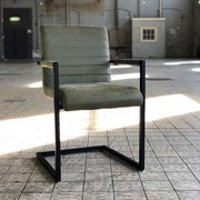 Armlehnstuhl Block Lederlook Olivgrün Gepolstert, 2er-Set - Schwarz/Olivgrün, MODERN, Metall (54/86/57cm) - MID.YOU