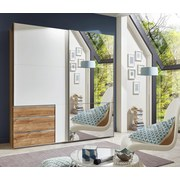 Schwebetürenschrank Level 36a 200cm Weiß/eiche - Eichefarben/Weiß, MODERN, Holzwerkstoff (200/216/65cm)