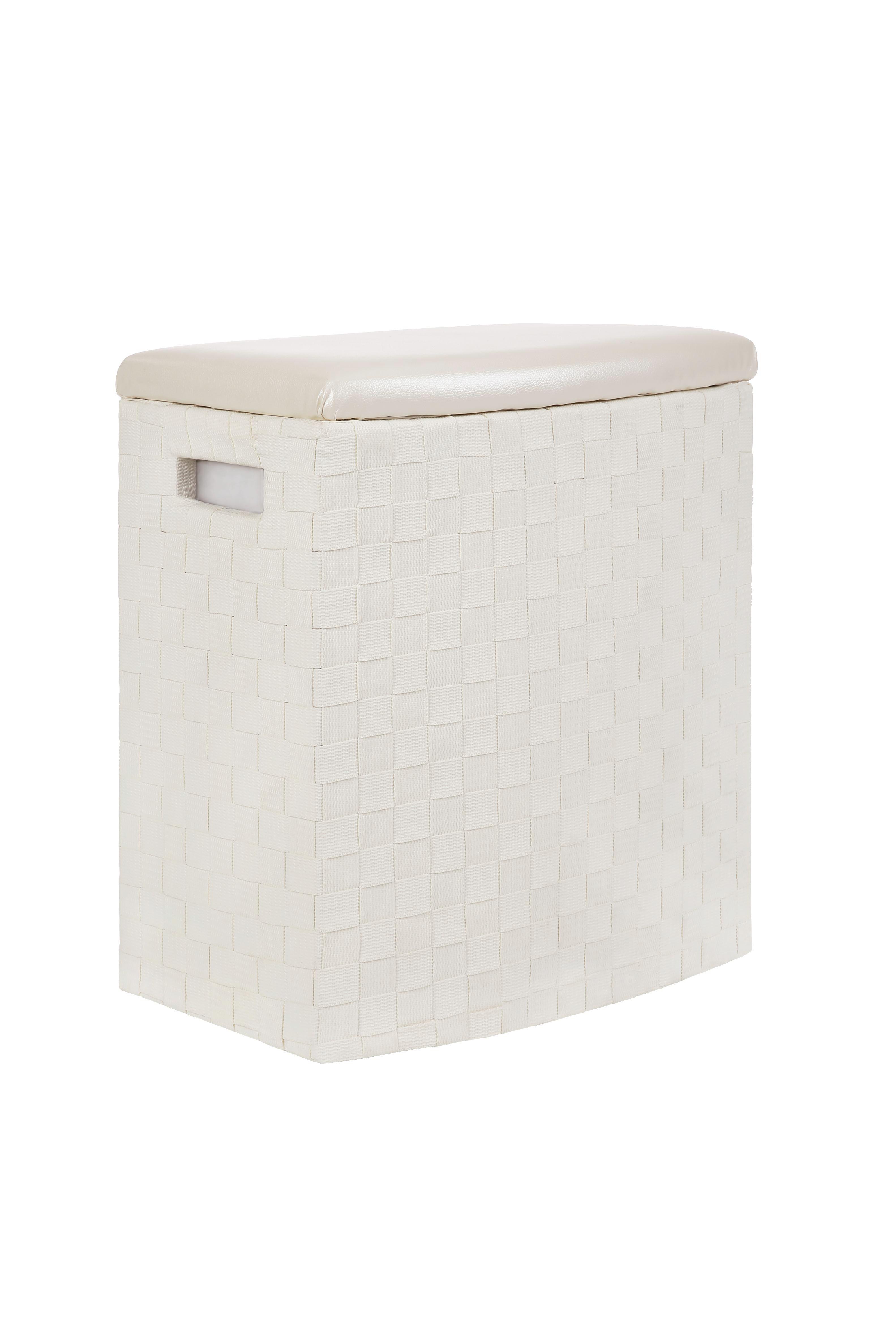Wäschekorb Ghada, Weiß, Gr. S - Weiß, KONVENTIONELL, Holz/Kunststoff (42/28/48cm) - LUCA BESSONI