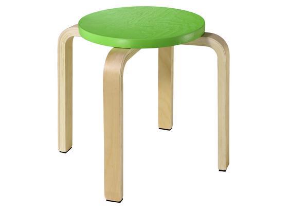 Taburetka V Zelenej A Prírodnej Farbe - prírodné farby/zelená, kompozitné drevo/plast (26/30cm)