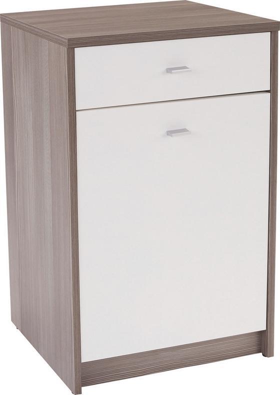 Komód 4-you - Sötétbarna/Fehér, modern, Faalapú anyag (50/85,4/34,6cm)
