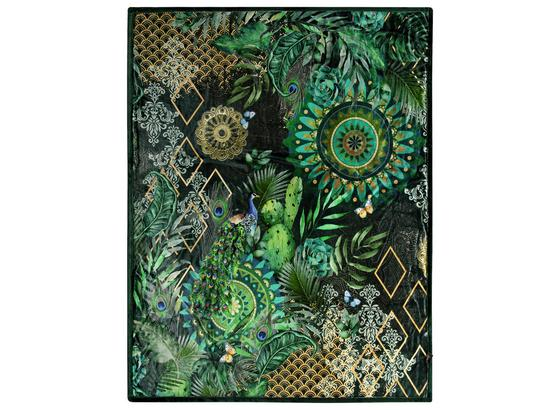 Kuscheldecke Botalia - Schwarz/Grün, Textil (130/160cm)