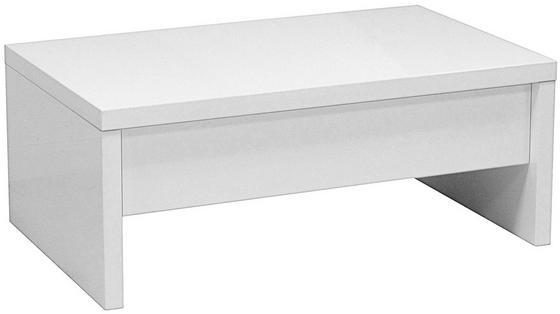 Dohányzóasztal Glossy - Fehér, modern, Faalapú anyag/Fém (100/40-64/60cm)