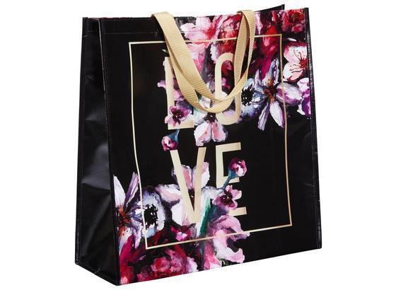 Nákupná Taška Love & Flowers - čierna/zlatá, Moderný, plast (45/47/17,5cm) - Mömax modern living