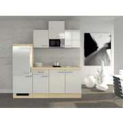 Küchenblock Abaco 210 cm Perlmutt - Perlmutt/Akaziefarben, MODERN, Holzwerkstoff (210/60cm) - FlexWell.ai