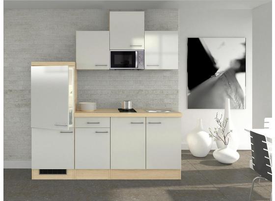 Küchenblock Abaco 210 cm Perlmutt - Perlmutt/Akaziefarben, MODERN, Holzwerkstoff (210/60cm)