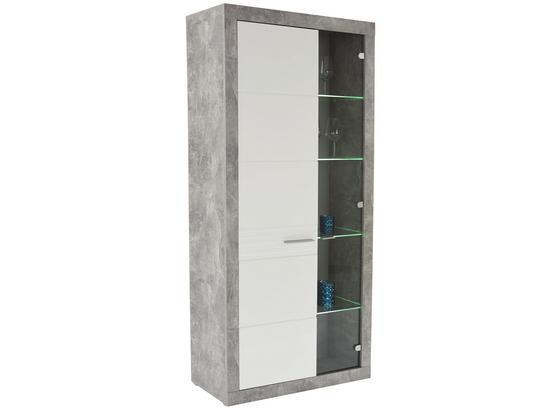 Vitrína Malta - sivá/biela, Moderný, kompozitné drevo (96/197/35cm)