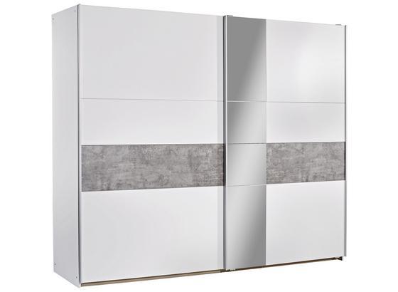 Schwebetürenschrank mit Spiegel 261cm Korbach, Weiß Dekor - Weiß/Grau, MODERN, Holzwerkstoff (261/210/59cm)