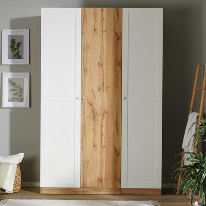 Kleiderschrank in Weiß und Eiche Wotan mit drei Türen