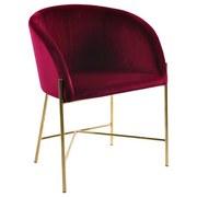 Armlehnstuhl Nelson Samtbezug Bordeaux Gepolstert - Bordeaux/Goldfarben, Trend, Textil/Metall (56/76/54cm) - Carryhome
