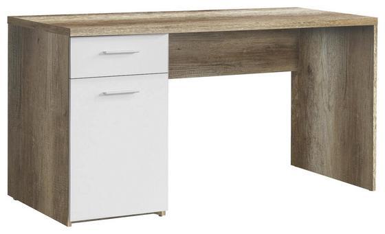 Písací Stôl Net - farby dubu/biela, Moderný, drevo (140/76,5/60cm)