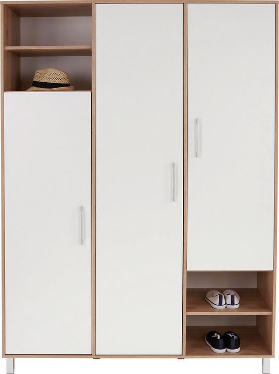 Ruhásszekrény Box - tölgy színű/fehér, modern, faanyagok (147/205/55cm)