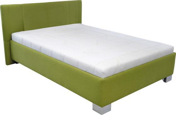 Čalouněná Postel Stilo - bílá/zelená, dřevo/textil (214/149/97cm)