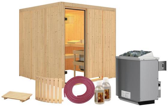 Sauna Cannes mit Interner Steuerung Am Ofen - Naturfarben, MODERN, Holz (196/198/196cm) - Karibu