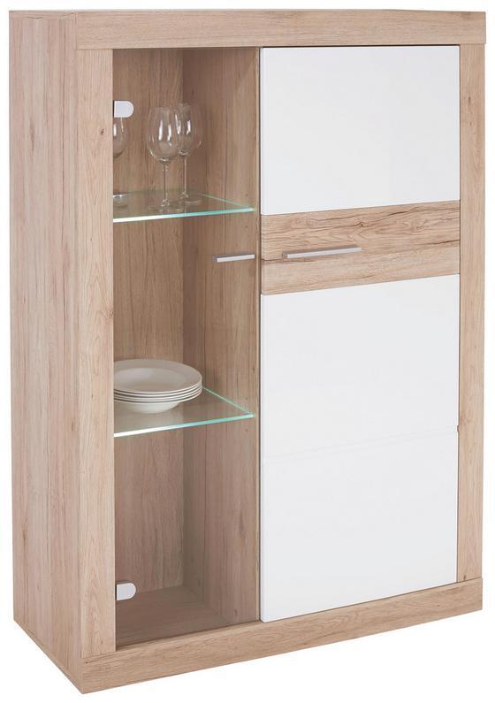 Vitrína Malta - bílá/barvy dubu, Moderní, kompozitní dřevo (96/132/35cm)