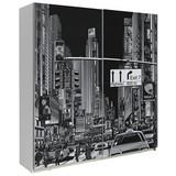 Schwebetürenschrank 170cm Plakato City, Weiß/Schwarz - Schwarz/Weiß, MODERN, Holzwerkstoff/Kunststoff (170,3cm)