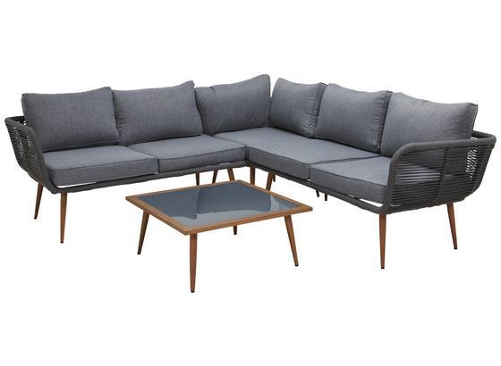 Loungegarnitur Egina - Braun/Grau, MODERN, Glas/Kunststoff - Luca Bessoni