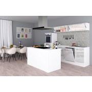 Einbauküche Premium B: 280 cm Weiß Hgl - Weiß, MODERN, Holzwerkstoff (280/200/270cm) - MID.YOU
