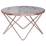 Couchtisch Rund mit Bedruckter Platte Marmor/Kupferfarben - Weiß/Grau, Design, Holzwerkstoff/Metall (85/85/49cm) - Livetastic
