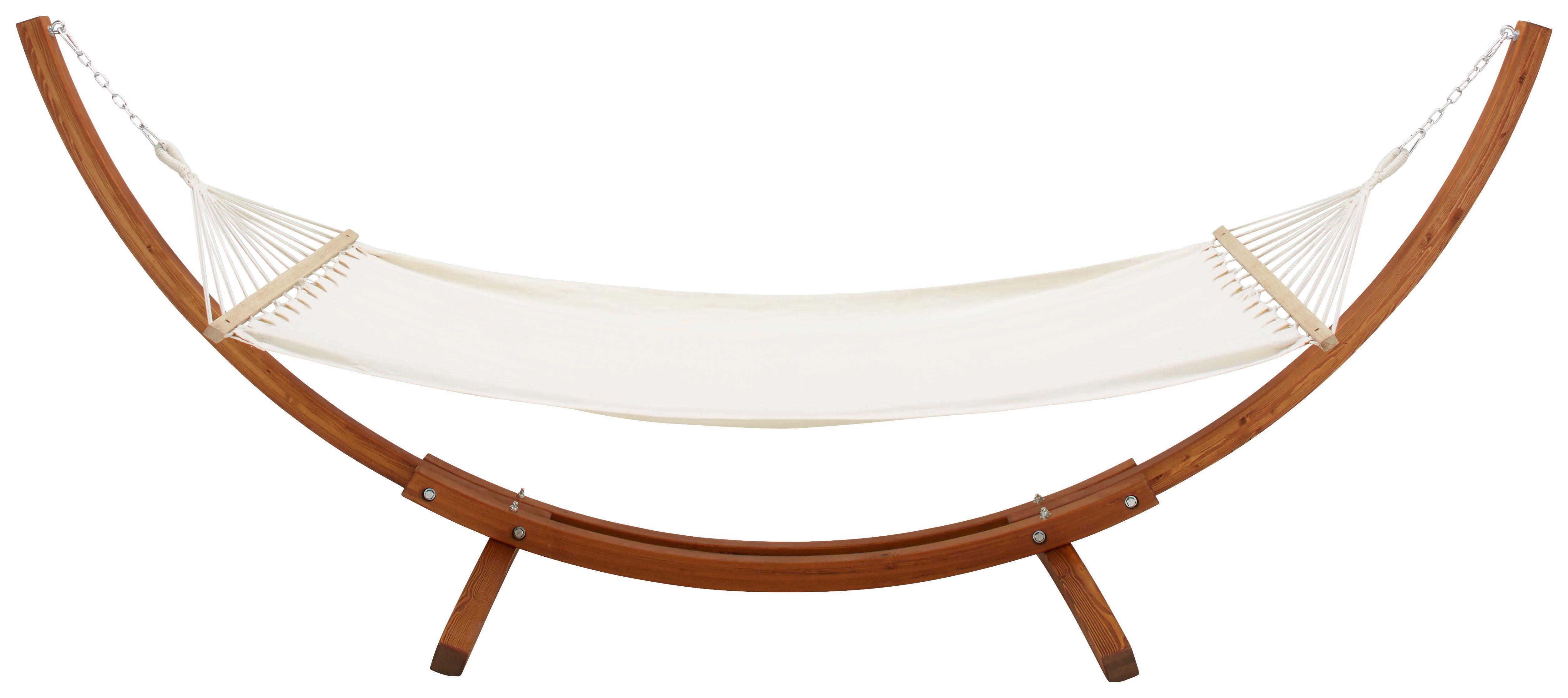 Hängematte Mesa - Creme/Teakfarben, MODERN, Holz/Textil (310/123/120cm) - Ombra