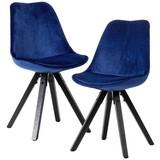 Stuhl-Set Samtbezug Dunkelblau Gepolstert, 2er-Set - Schwarz/Dunkelblau, MODERN, Holz/Textil (49/87/52cm) - MID.YOU