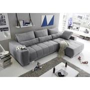 Ecksofa mit Schlaffunktion + Bettkasten Lopez, Webstoff - Silberfarben/Hellgrau, MODERN, Holzwerkstoff/Textil (305/189cm) - Carryhome