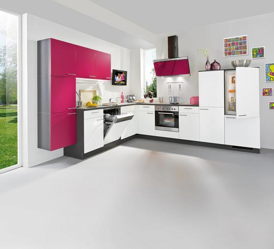 Rohová Kuchyňa Win - farby dubu/ružová, kompozitné drevo (285/325cm)