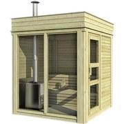 Sauna Outdoor Wwc 2x2 mit Int. Steuerung 228,6x228,6x278 cm - Naturfarben, KONVENTIONELL, Holz (228,6/228,6cm)