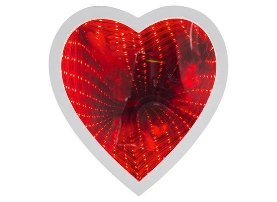 Leuchtspiegel Herz mit Rotlicht - Weiß, MODERN, Kunststoff (23/24,5/5cm)