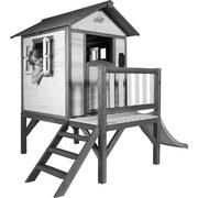Stelzenspielhaus Holz mit Rutsche Weiß/ Grau Sunny Lodge - Schwarz/Weiß, Holz (260/190/167cm)