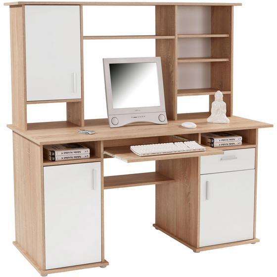 Íróasztal Thema 2 - Sonoma tölgy/fehér, modern, műanyag/faanyagok (160/153,4/60cm)