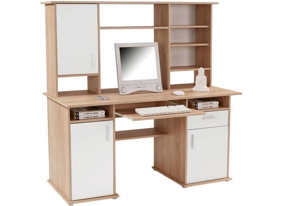 Písací Stôl Thema 2 - biela/dub sonoma, Moderný, kompozitné drevo/plast (160/153,4/60cm)