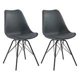 Stuhl-Set Ursel 2-er Set Schwarz - Schwarz/Grau, MODERN, Kunststoff/Metall (48/86/56cm) - MID.YOU