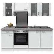 Küchenblock Wito 210 cm Weiß - Edelstahlfarben/Weiß, MODERN, Holzwerkstoff (210/60cm)