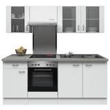 Küchenblock Wito 210cm Weiß - Edelstahlfarben/Weiß, MODERN, Holzwerkstoff (210/200/60cm) - FlexWell.ai