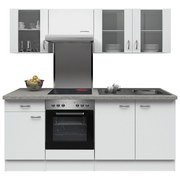 Küchenblock Wito 210cm Weiß - Edelstahlfarben/Weiß, MODERN, Holzwerkstoff (210cm) - MID.YOU
