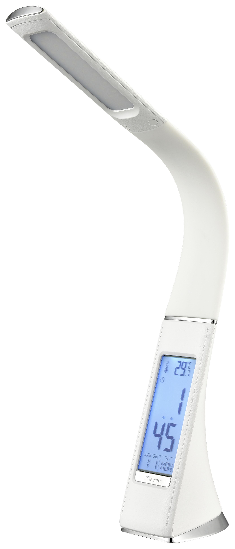 Led Schreibtischlampe Uschi Weiß mit Flexarm + LED-Anzeige - Weiß, MODERN, Kunststoff (50cm) - Luca Bessoni