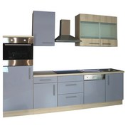 Küchenblock Bea 280cm Buche/ Grau - Buchefarben/Hellblau, Basics, Holzwerkstoff (280/60cm)