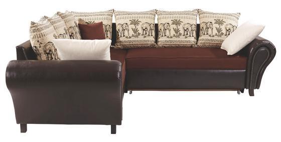 Sarokgarnitúra Elephant - sötétbarna/barna, konvencionális, textil (245/280cm)