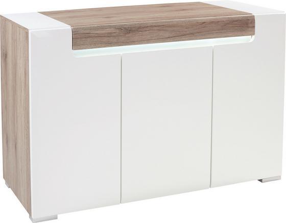 Sideboard Toronto - Chromfarben/Eichefarben, MODERN, Glas/Holzwerkstoff (140/85/42,2cm) - Ombra
