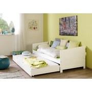 Ausziehbett Echtholz inkl. Rollrost 90x200 Nina, Weiß - Weiß, Design, Holz (90/200cm) - Livetastic