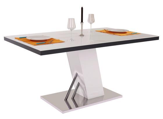 Esstisch Metz 160cm Weiß mit Glasplatte online kaufen ➤ Möbelix