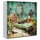 Schiebetürenschrank Plakato Cuba 170,3 cm - Multicolor/Weiß, MODERN, Holzwerkstoff/Kunststoff (170,3/190,5/61,2cm)
