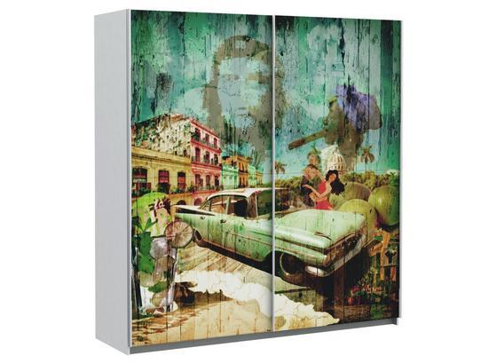 Skriňa S Posuvnými Dvermi Plakato Cuba - biela, Moderný, umelá hmota/kov (170,3/190,5/61,2cm)
