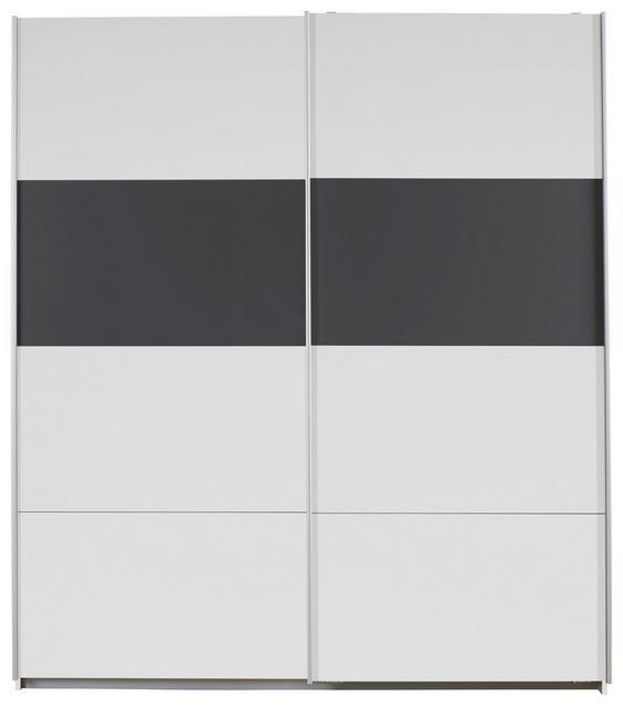 Schwebetürenschrank Feldkirch Extra, 181cm - Weiß/Grau, MODERN, Holzwerkstoff (181/210/62cm)